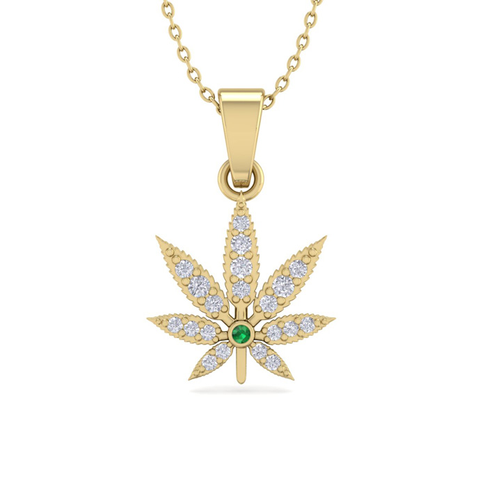 1/4 Carat Diamond & Emerald Cut Weed Leaf Necklace in 14K Yellow Gold (3.30 ..