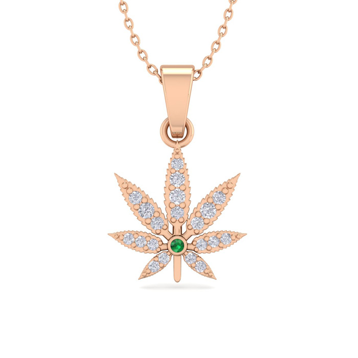 1/4 Carat Diamond & Emerald Cut Weed Leaf Necklace in 14K Rose Gold (3.30 g)..
