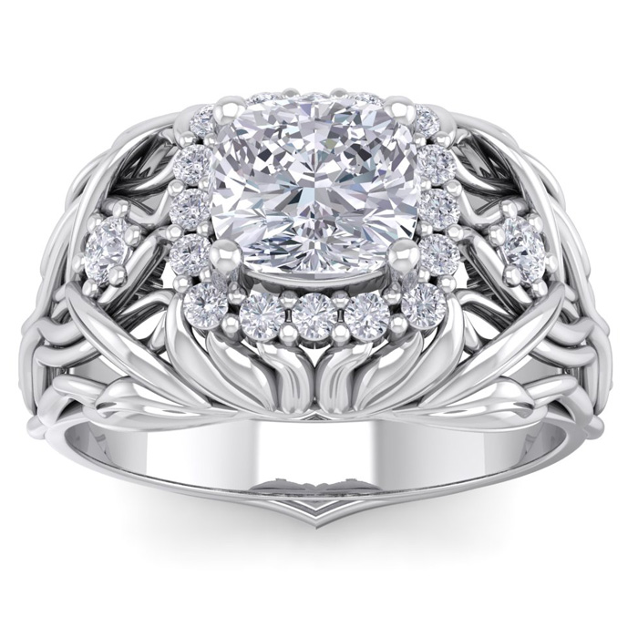 1 1/5 Carat Cushion Cut Halo Diamond Intricate Vine Engagement Ring in 14K W..