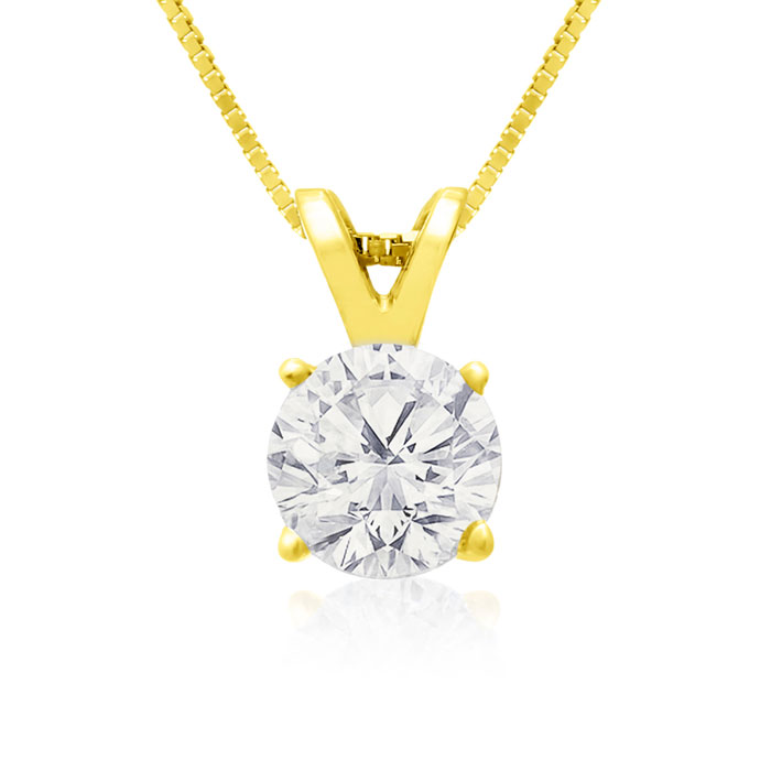 75 Point Colorless Diamond Solitaire Necklace in 14K Gold (2.0 g), Genuine E..