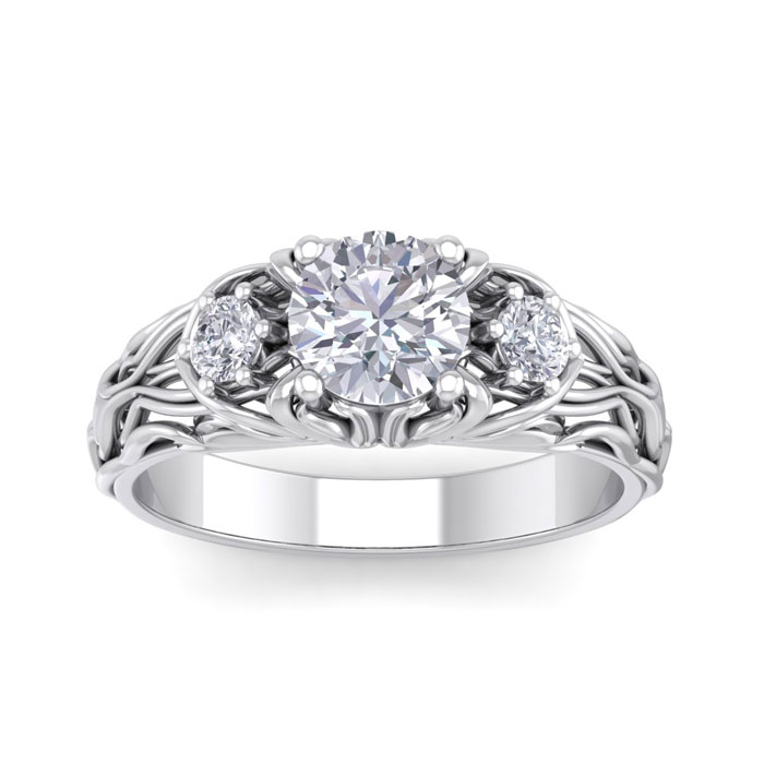 1 1/5 Carat Round Shape Diamond Intricate Vine Engagement Ring in 14K White ..
