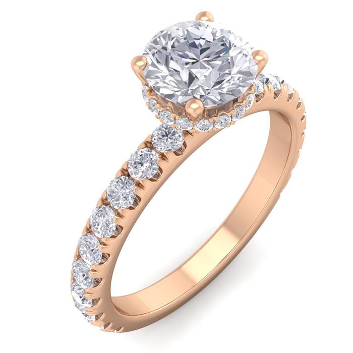 1.5 Carat Round Shape Hidden Halo Diamond Engagement Ring in 14K Rose Gold (3 g) (