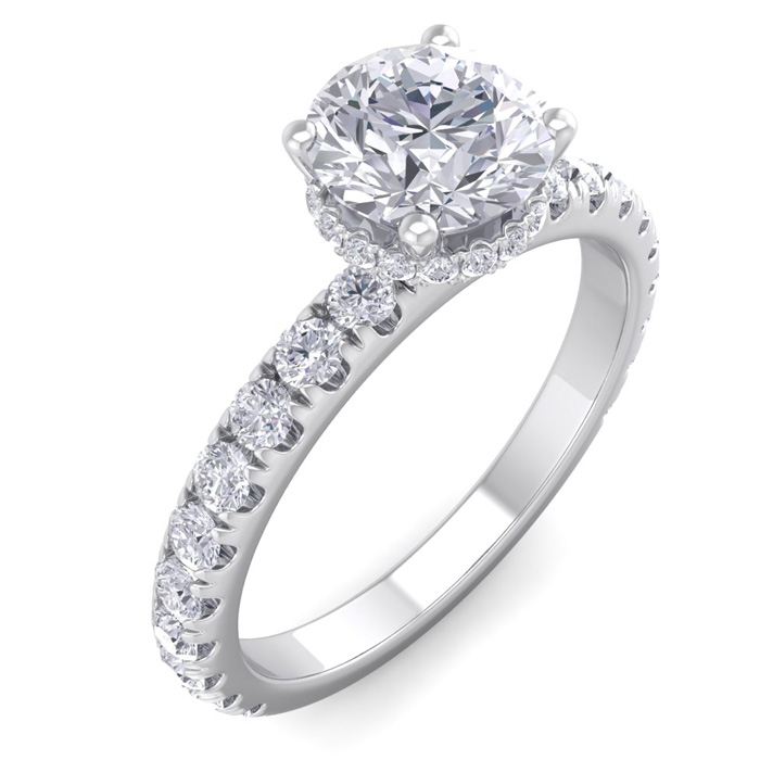1.5 Carat Round Shape Hidden Halo Diamond Engagement Ring in 14K White Gold ..