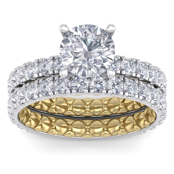 3 Carat Round Shape Diamond Bridal Ring Set in Quilted 14K White & Yellow Gold (7 g) (
