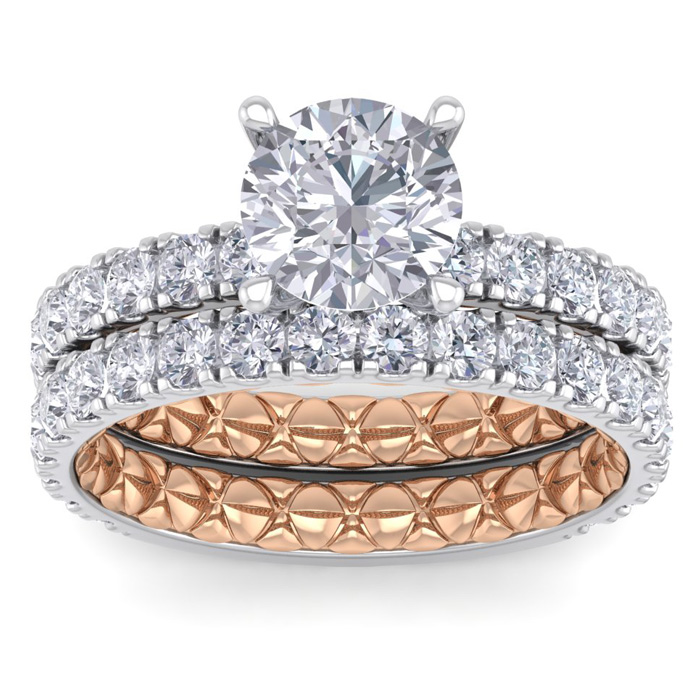 3 Carat Round Shape Diamond Bridal Ring Set in Quilted 14K White & Rose Gold (7 g) (