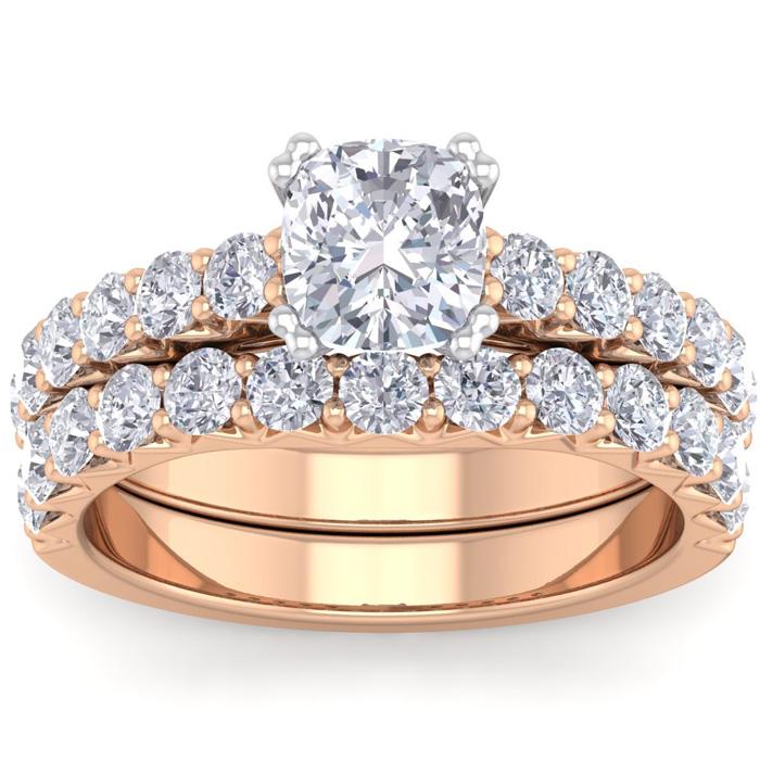 2.5 Carat Cushion Cut Diamond Bridal Ring Set in 14K Rose Gold (6.40 g) (