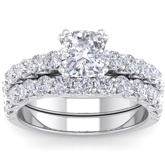 2.5 Carat Cushion Cut Diamond Bridal Ring Set in 14K White Gold (6.40 g) (