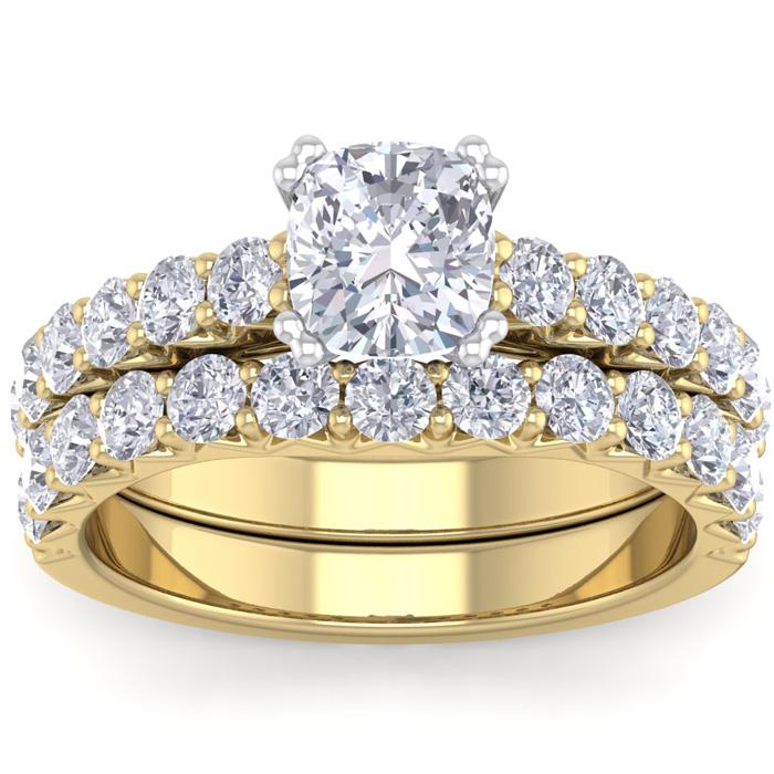 2.5 Carat Cushion Cut Diamond Bridal Ring Set in 14K Yellow Gold (6.40 g) (