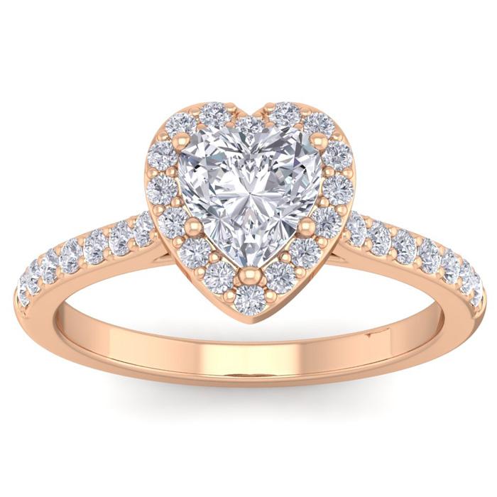 1 1/3 Carat Heart Shape Halo Diamond Engagement Ring in 14K Rose Gold (3.70 g)