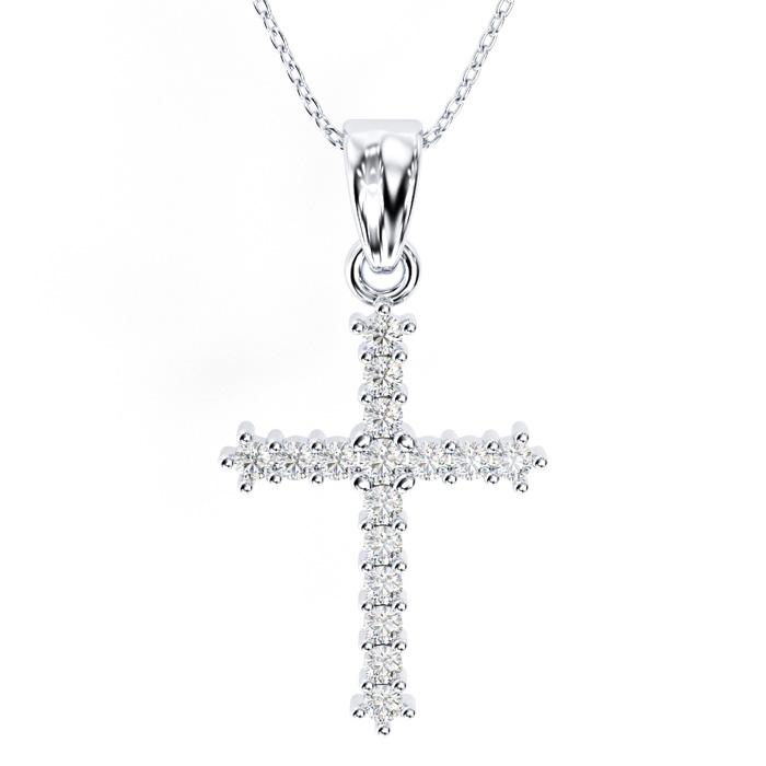 Classic 1/4ct Diamond Cross Pendant in 10k White Gold