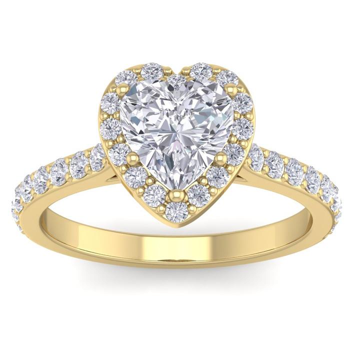 1 3/4 Carat Heart Shape Halo Diamond Engagement Ring in 14K Yellow Gold (3.70 g)
