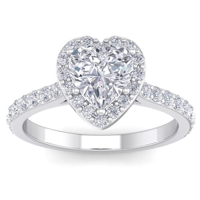 1 3/4 Carat Heart Shape Halo Diamond Engagement Ring in 14K White Gold (3.70 g)