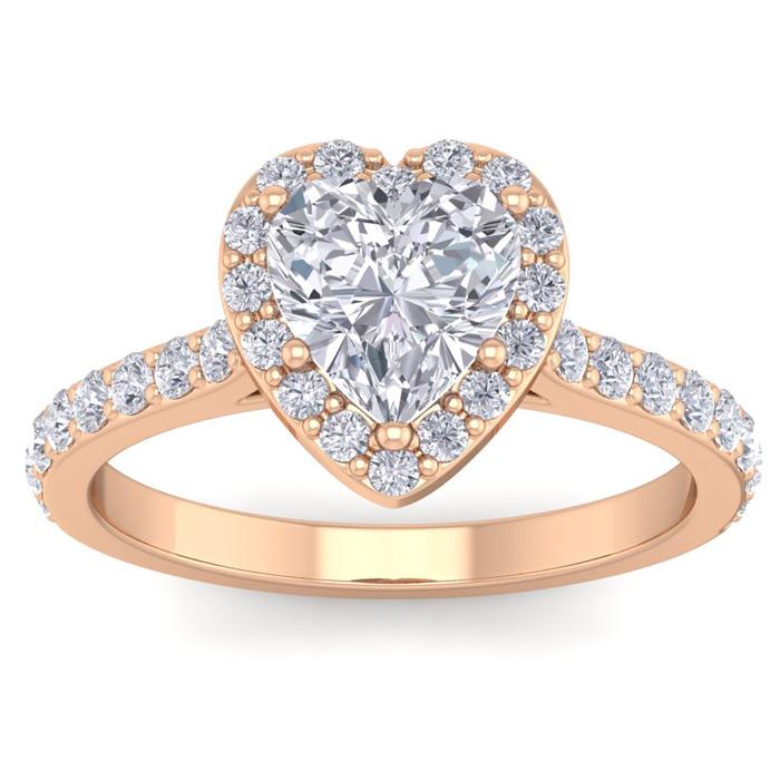 1 3/4 Carat Heart Shape Halo Diamond Engagement Ring in 14K Rose Gold (3.70 g)