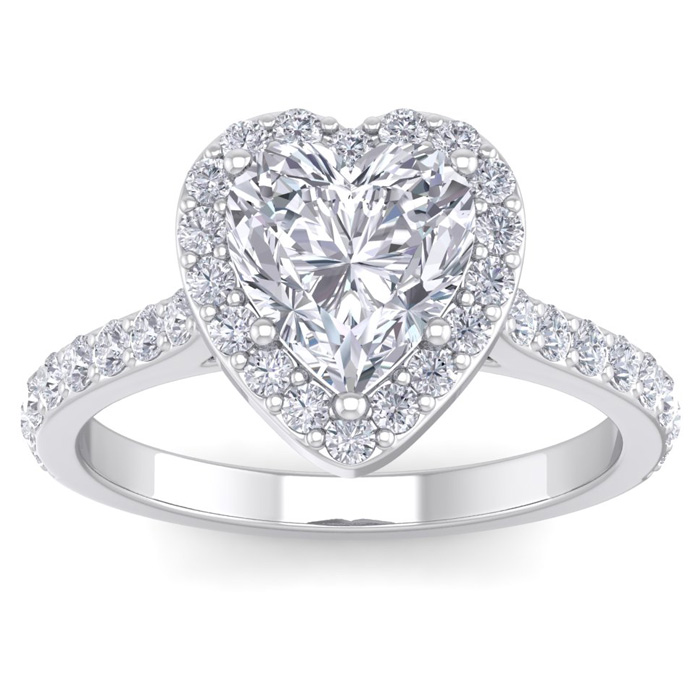 2.5 Carat Heart Shape Halo Diamond Engagement Ring in 14K White Gold (4.40 g)