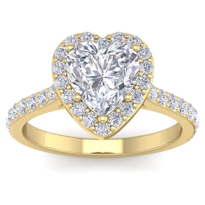2.5 Carat Heart Shape Halo Diamond Engagement Ring in 14K Yellow Gold (4.40 g)