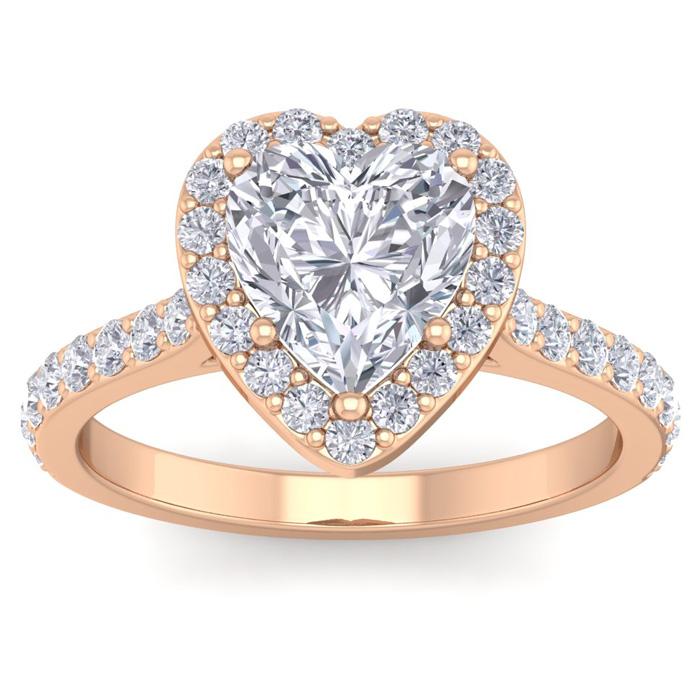 2.5 Carat Heart Shape Halo Diamond Engagement Ring in 14K Rose Gold (4.40 g)