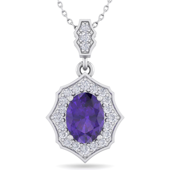 1 1/3 Carat Oval Shape Amethyst & Diamond Necklace in 14K White Gold (2.60 g..