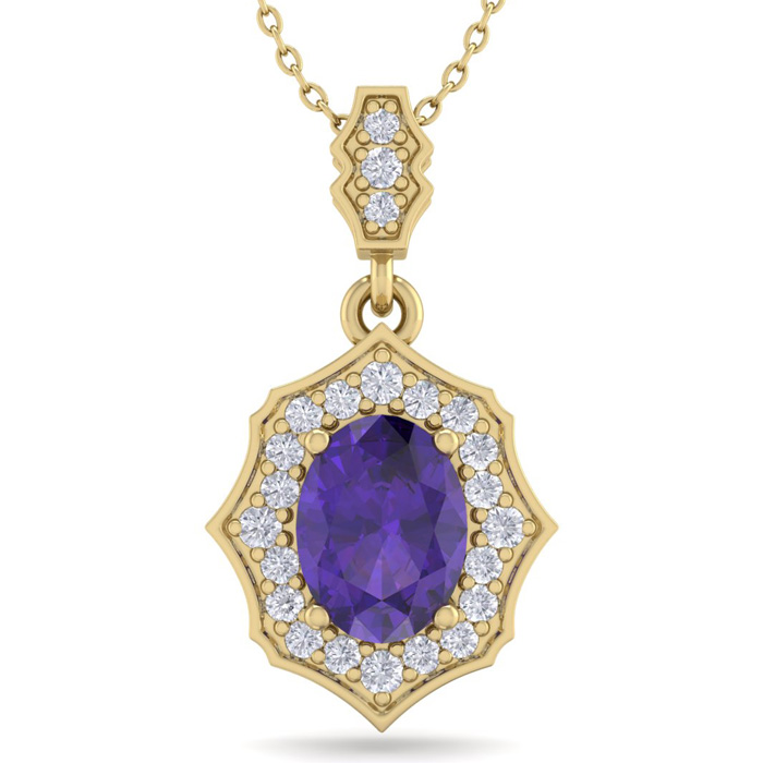 1 1/3 Carat Oval Shape Amethyst & Diamond Necklace in 14K Yellow Gold (2.60 ..