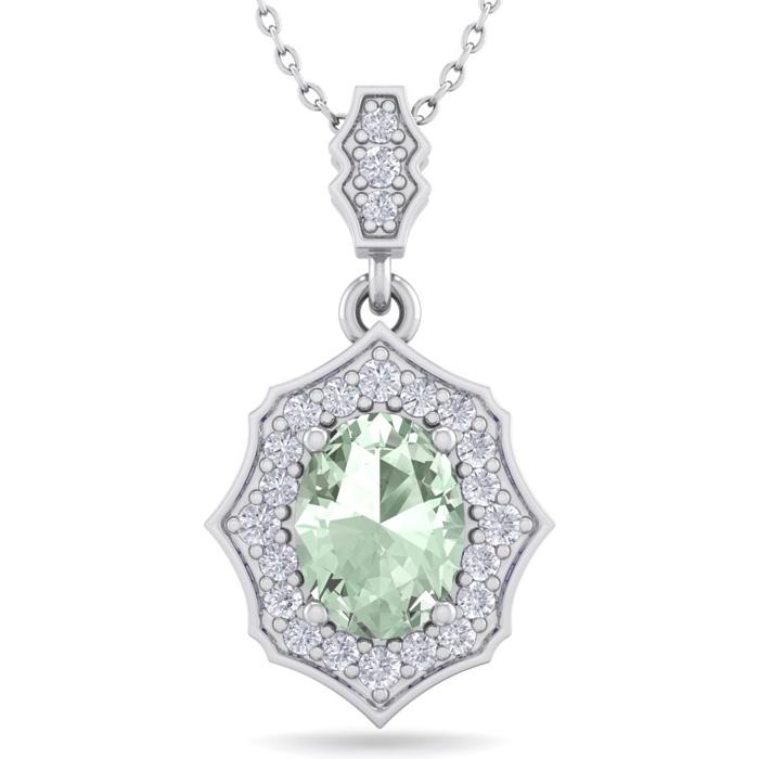 1 1/3 Carat Oval Shape Green Amethyst & Diamond Necklace in 14K White Gold (..
