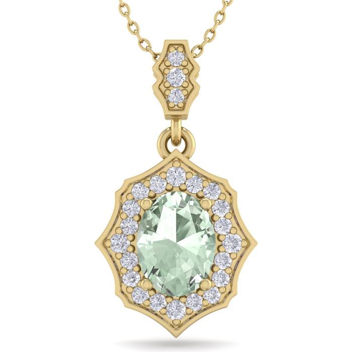 1 1/3 Carat Oval Shape Green Amethyst & Diamond Necklace in 14K Yellow Gold ..