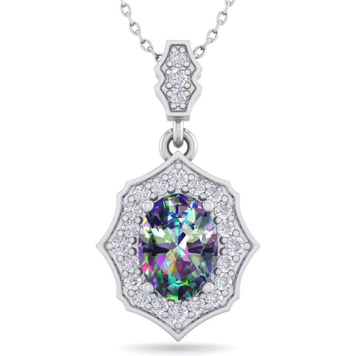 1 1/3 Carat Oval Shape Mystic Topaz & Diamond Necklace in 14K White Gold (2...