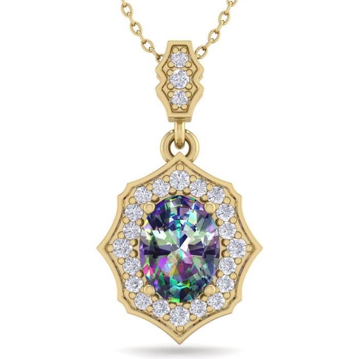 1 1/3 Carat Oval Shape Mystic Topaz & Diamond Necklace in 14K Yellow Gold (2..