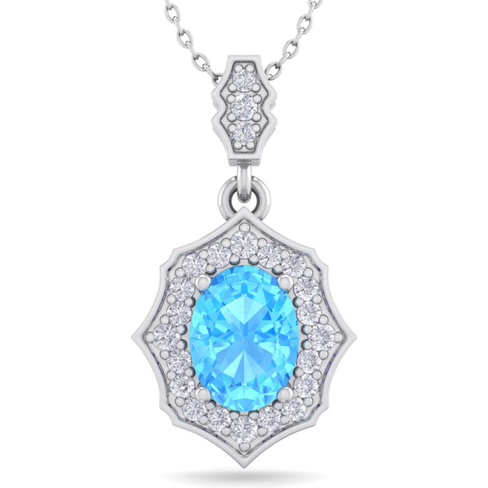 1 3/4 Carat Oval Shape Blue Topaz & Diamond Necklace in 14K White Gold (2.60..