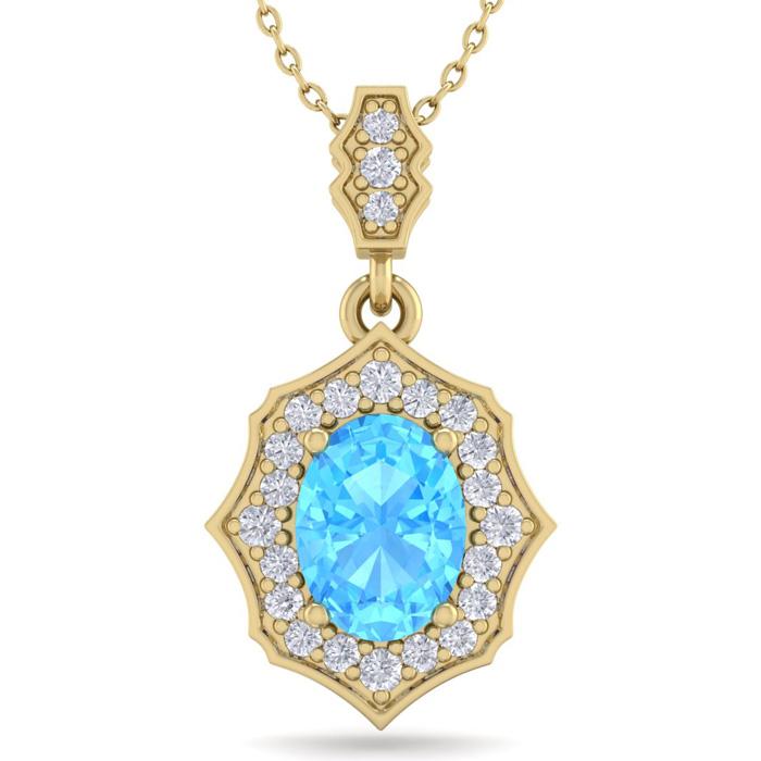 1 3/4 Carat Oval Shape Blue Topaz & Diamond Necklace in 14K Yellow Gold (2.6..