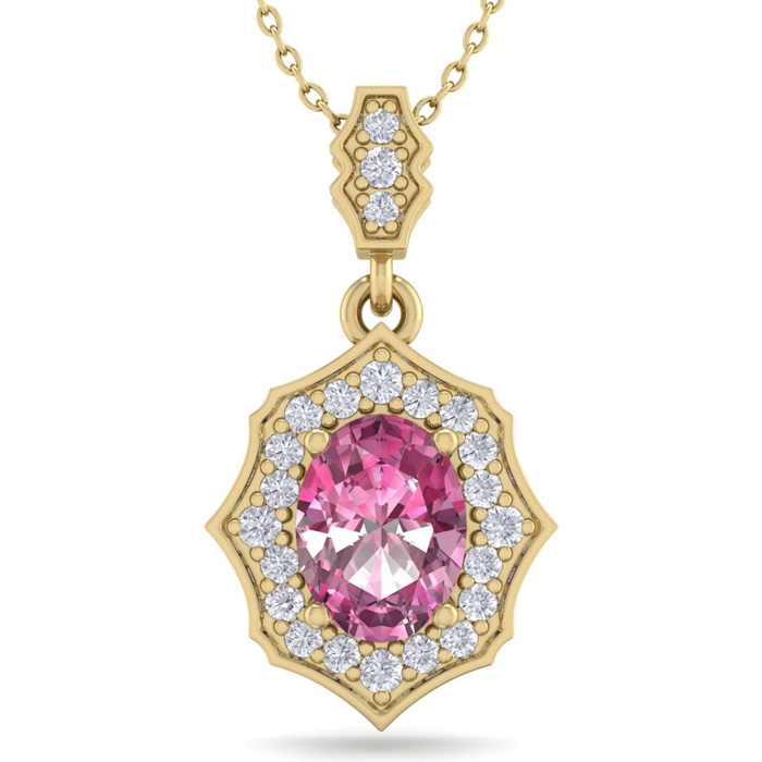 1 3/4 Carat Oval Shape Pink Topaz & Diamond Necklace in 14K Yellow Gold (2.6..