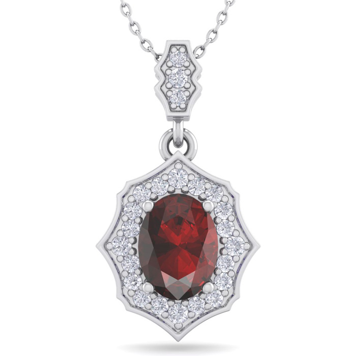 1 3/4 Carat Oval Shape Garnet & Diamond Necklace in 14K White Gold (2.60 g),..