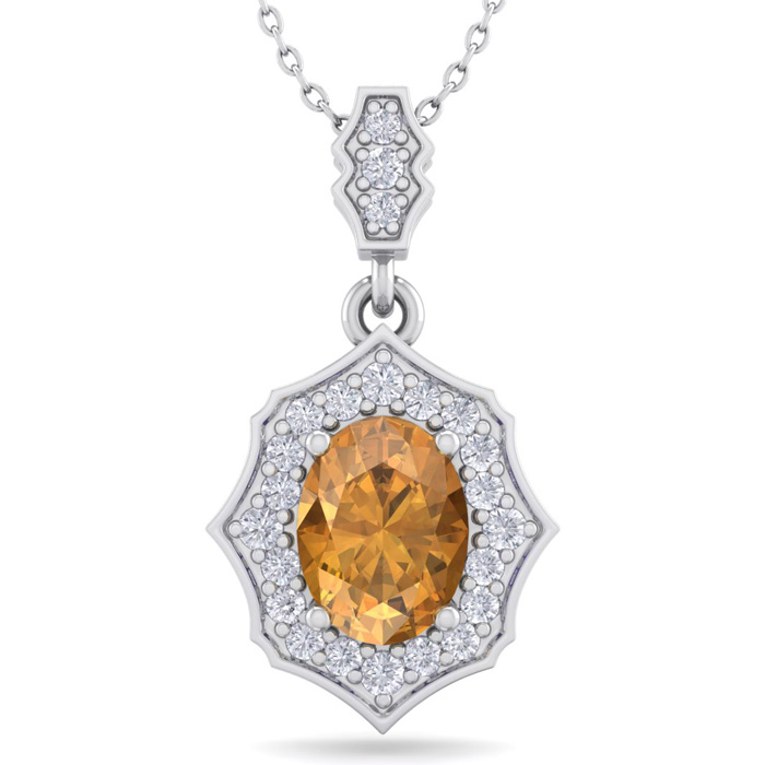 1 1/3 Carat Oval Shape Citrine & Diamond Necklace in 14K White Gold (2.60 g)..