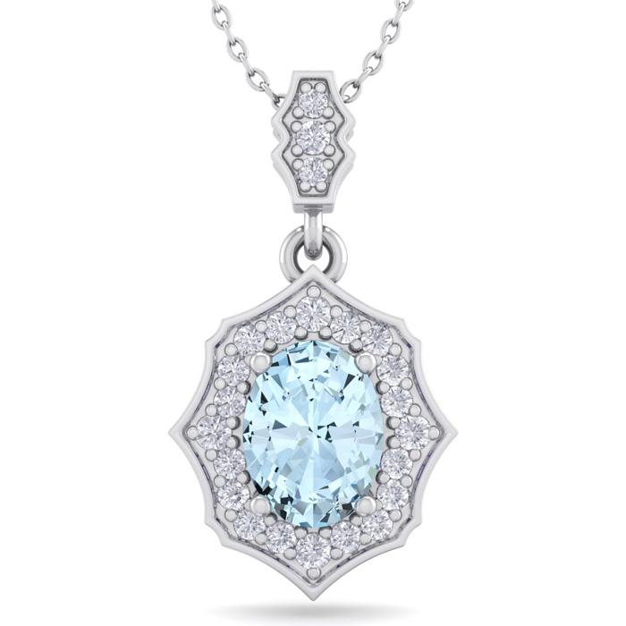 1.5 Carat Oval Shape Aquamarine & Diamond Necklace in 14K White Gold (2.60 g..