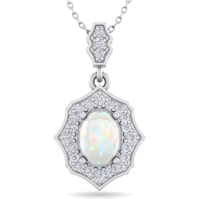 1.25 Carat Oval Shape Opal & Diamond Necklace in 14K White Gold (2.60 g), 18..