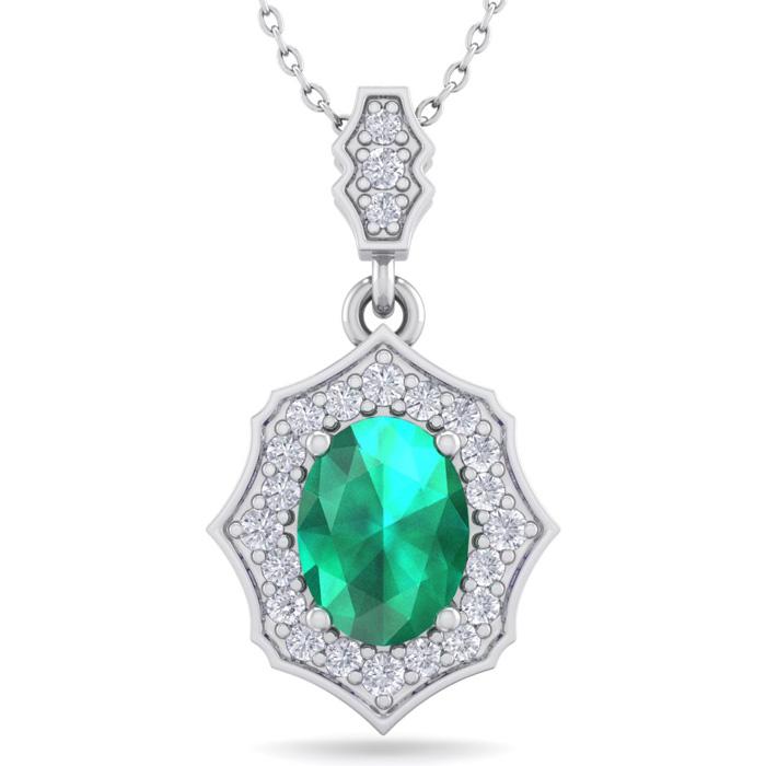 1.5 Carat Oval Shape Emerald Cut & Diamond Necklace in 14K White Gold (2.60 ..
