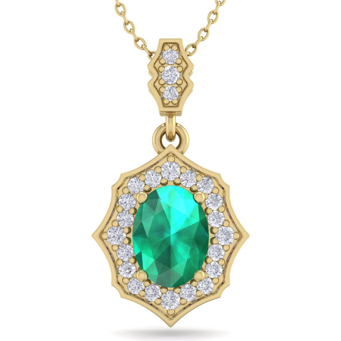 1.5 Carat Oval Shape Emerald Cut & Diamond Necklace in 14K Yellow Gold (2.60..
