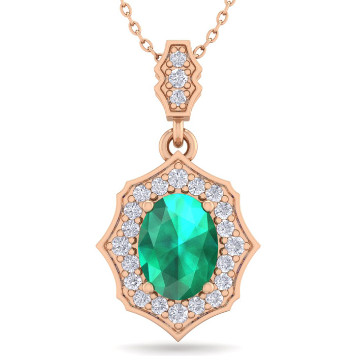 1.5 Carat Oval Shape Emerald Cut & Diamond Necklace in 14K Rose Gold (2.60 g..