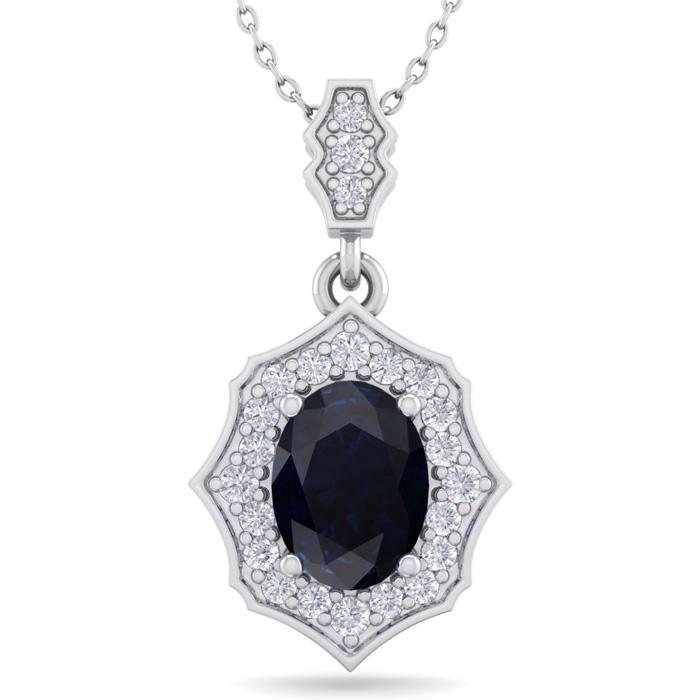 1 3/4 Carat Oval Shape Sapphire & Diamond Necklace in 14K White Gold (2.60 g..
