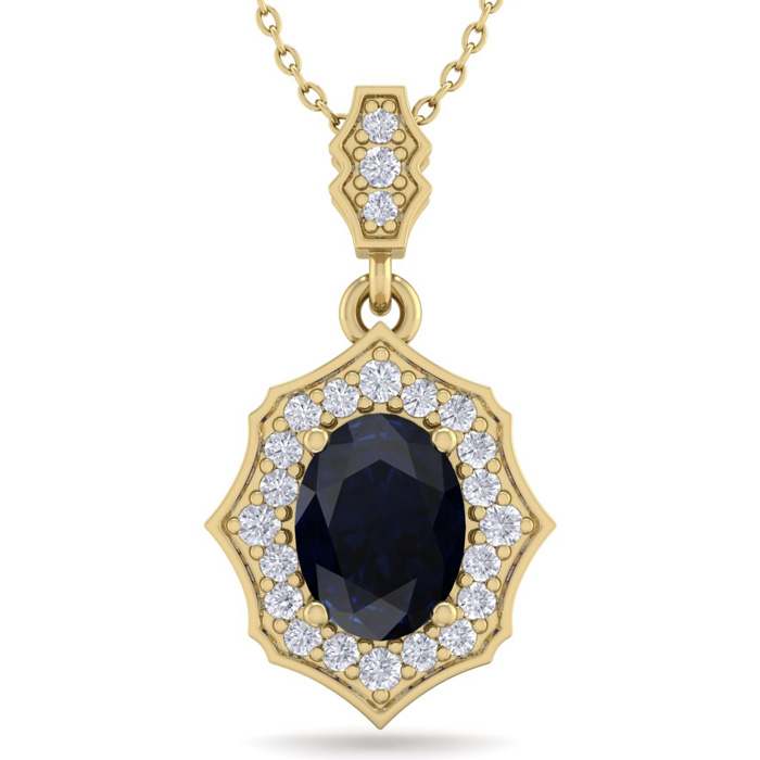 1 3/4 Carat Oval Shape Sapphire & Diamond Necklace in 14K Yellow Gold (2.60 ..