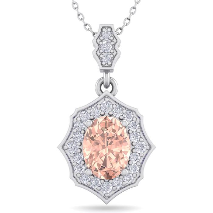 1.5 Carat Oval Shape Morganite & Diamond Necklace in 14K White Gold (2.60 g)..