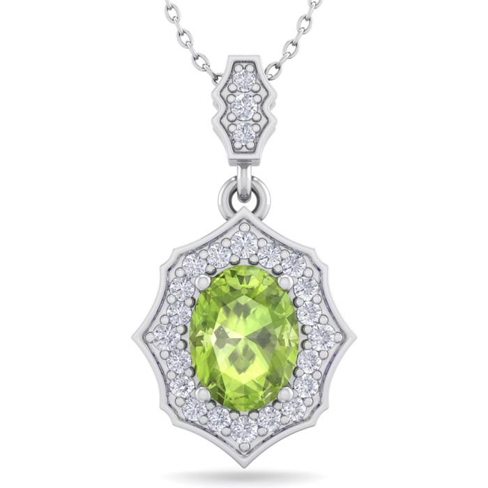 1.5 Carat Oval Shape Peridot & Diamond Necklace in 14K White Gold (2.60 g), ..