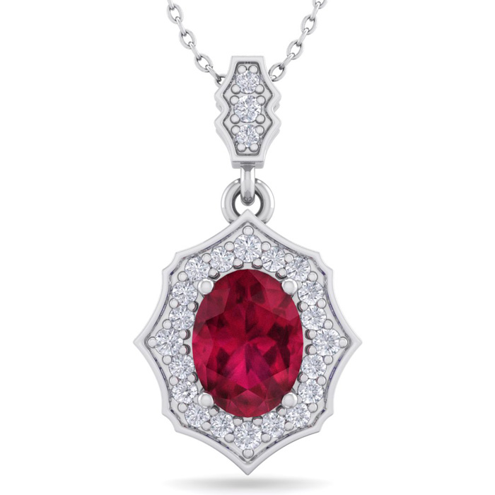 1 3/4 Carat Oval Shape Ruby & Diamond Necklace in 14K White Gold (2.60 g), 1..
