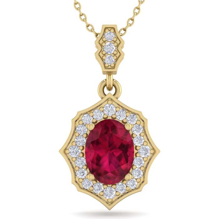 1 3/4 Carat Oval Shape Ruby & Diamond Necklace in 14K Yellow Gold (2.60 g), ..