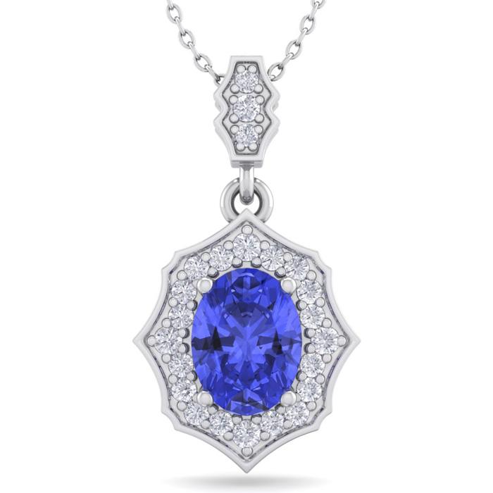 1.5 Carat Oval Shape Tanzanite & Diamond Necklace in 14K White Gold (2.60 g)..