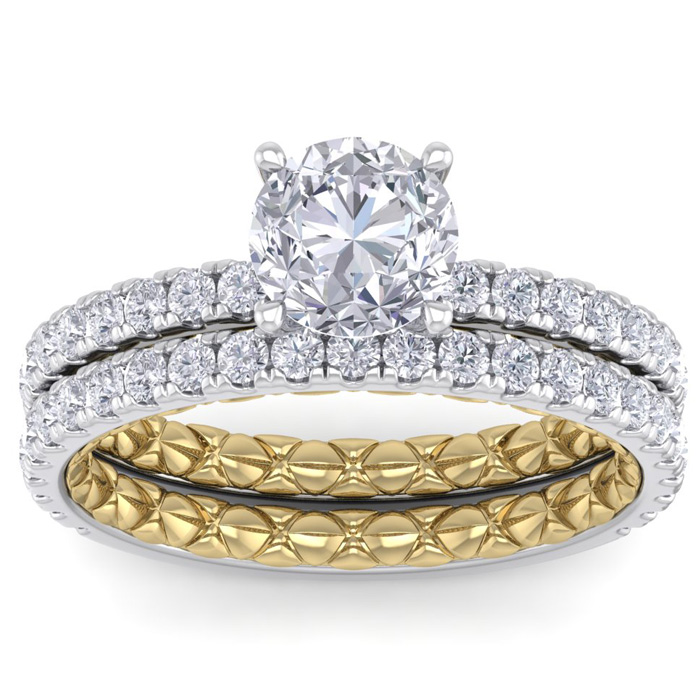 2 Carat Round Shape Diamond Bridal Ring Set in Quilted 14K White & Yellow Gold (5.30 g) (