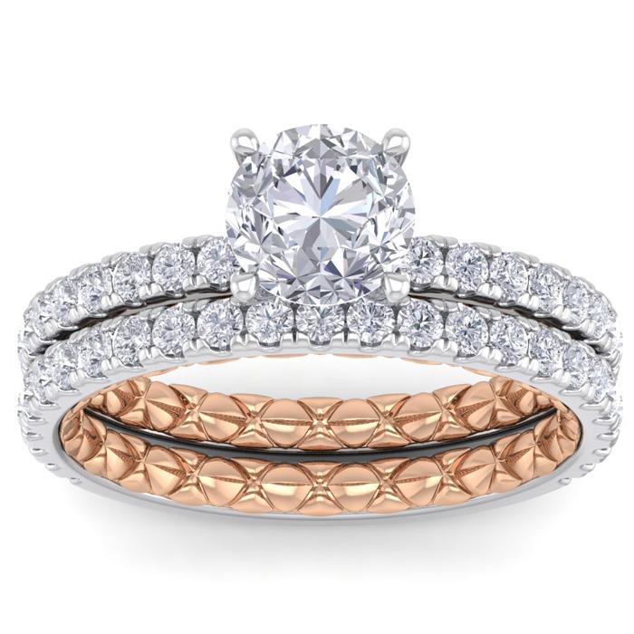 2 Carat Round Shape Diamond Bridal Ring Set in Quilted 14K White & Rose Gold (5.30 g) (