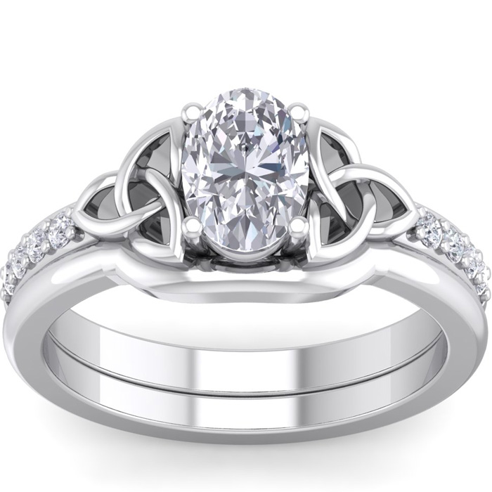 1 1/10 Carat Oval Shape Diamond Claddagh Engagement Ring in 14K White Gold (..