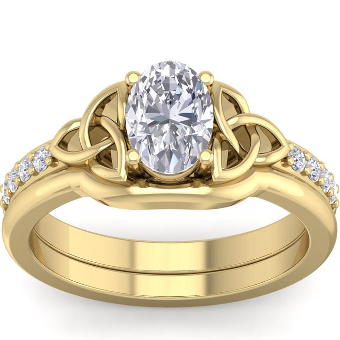 1 Carat Oval Shape Diamond Claddagh Bridal Ring Set in 14K Yellow Gold (6.40 g) (