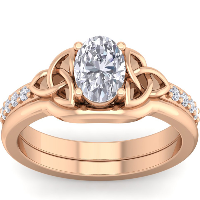 1 Carat Oval Shape Diamond Claddagh Bridal Ring Set in 14K Rose Gold (6.40 g) (