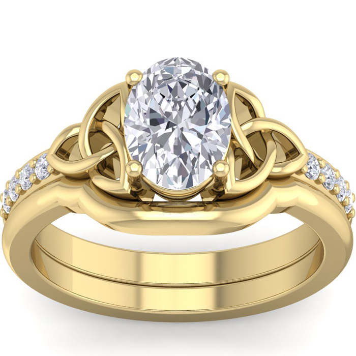1.5 Carat Oval Shape Diamond Claddagh Bridal Ring Set in 14K Yellow Gold (6.60 g) (