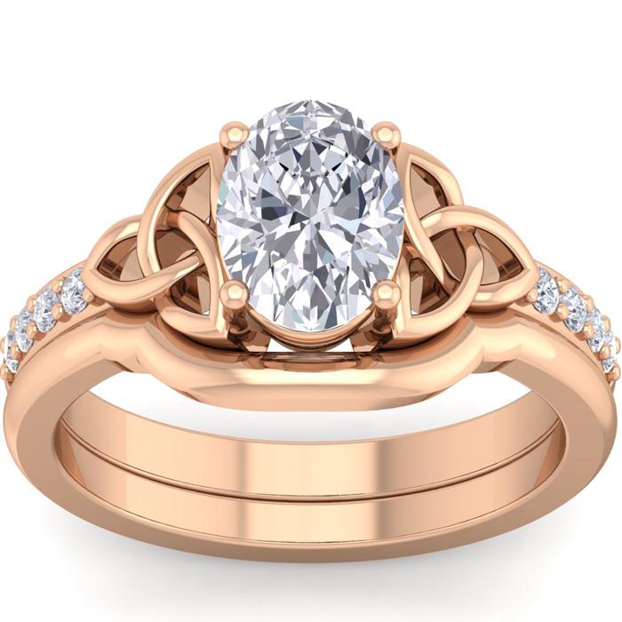 1.5 Carat Oval Shape Diamond Claddagh Bridal Ring Set in 14K Rose Gold (6.60 g) (